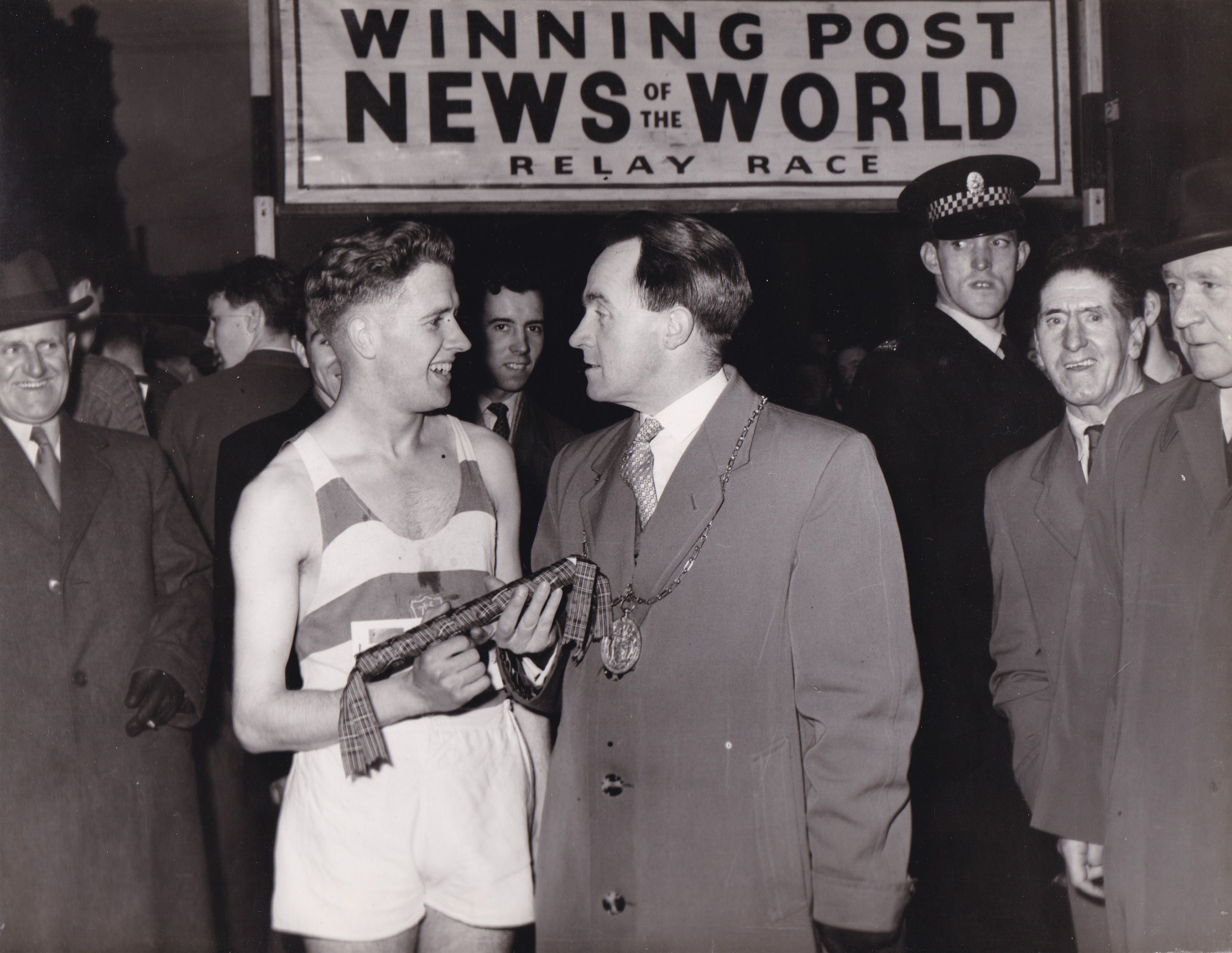 Sid Ellis with the Lord Provost of Glasgow in 1956